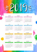 Vector calendar 2019 with watercolor background