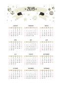 Vector calendar 2019 with Christmas symbols