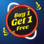Buy 1 Get 1 Vector Icon Button Design