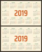 2019 year calendar, calendar design 2019 starts monday and sunday