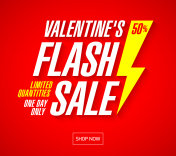 Valentine's Day Flash Sale bright banner template