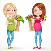 Two cute pregnant women blond and brunette in green and pink wit