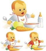 Baby nutrition, solid food, milk. Illustration