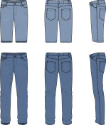 Set of male jeans and shorts.