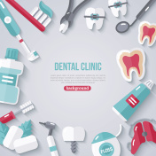 Dentistry Banner With Flat Icons