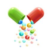 Vitamin pills vector 3D capsule poster