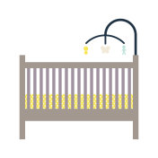 Newborn crib and mobile toy