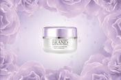 Moisturizing cosmetic products ad,vector promo sample with creme jar and flower 3d illustration