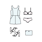 set of women's clothes drawn in the vector