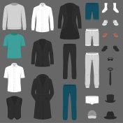 Set of man fashion. Vector clothes. pants, suit, shirt and jacket