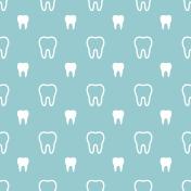 White teeth on turquoise background.