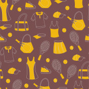 Hand Drawn Seamless Pattern with Tennis Equipment.