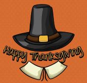 Pilgrim Hat in Orange Background for Thanksgiving Day.