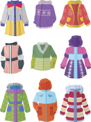 Jackets for girls in flat design