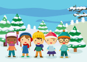 Group of children in snow