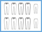 Vector illustration various templates female jogger pants sweatpants