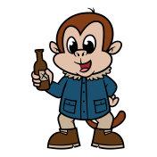 Cartoon Monkey Wearing Winter Coat