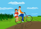 Couple in love on a bicycle