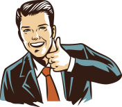 retro illustration man in black suit thumb up
