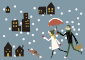 snowy landscape image with lovers and dog