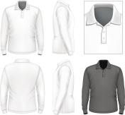Men's long sleeve polo-shirt design template