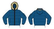 Illustration of Down jacket (fur hood) / blue