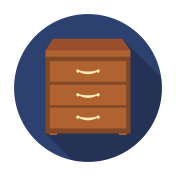 Office filing cabinet icon in flat style isolated on white