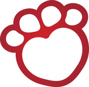 Illustration icons, dog paw symbol dog with heart. Ideal for visual communication, veterinary information and institutional material