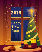 Happy New Year 2019 card with Christmas tree and gifts.