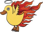 flying duck on fire