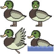 vector pixel art cartoon set