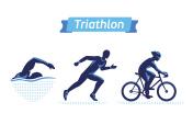 Triathlon symbols or badges set. Vector figures triathletes
