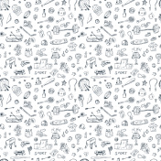 Sports. Seamless pattern of sports equipment. Hand Drawn Doodles illustration.