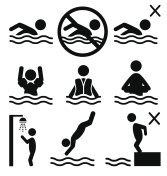 Set of summer swim water information flat people pictogram icon