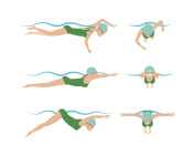 Vector illustration of swimming style scheme different swimmers man and woman in pool sport exercise