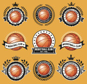 Basketball Club on Grunge Badge Set