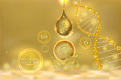 Gold collagen Serum drop, cosmetic advertising background ready to use, luxury skin care ad