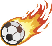 Flying soccer ball with flame
