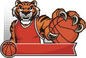 Tiger Mascot Basketball