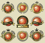 Basketball Amateur Club on Grunge Gold Badge Set