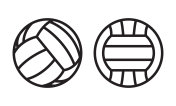 Volleyball ball line icons