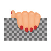 Woman hand with red nails mockup. Vector illustration.