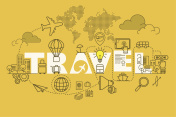 Travel web page banner concept with thin line flat design