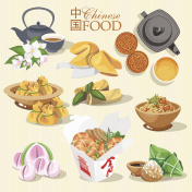 Vector set with chinese food.