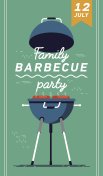 Lovely vector flyer or poster template on barbecue party. Barbecue cookout event. Spring or summer barbecue weekend celebration poster
