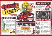 Food Truck Festival Vector Menu Template Design