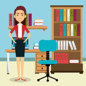 businesswoman in the office avatar character icon