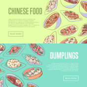 Chinese food flyers with asian dishes