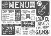 Seafood menu restaurant, food template.