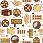 Vector cartoon chinese cuisine food background